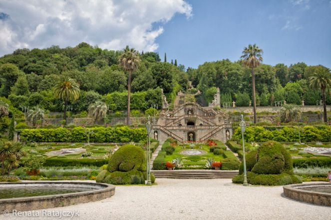 Villa Garzoni gardens, Italy. A view from the bottom level of the garden.