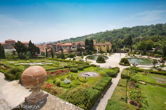 A view down the hill from one of the higher levels of Villa Garzoni gardens, Italy.