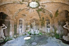 A grotto hidden under one of the terraces in Villa Garzoni garens, Italy.