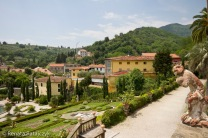 A beautiful view from one of the upper terraces in Villa Garzoni gardens.