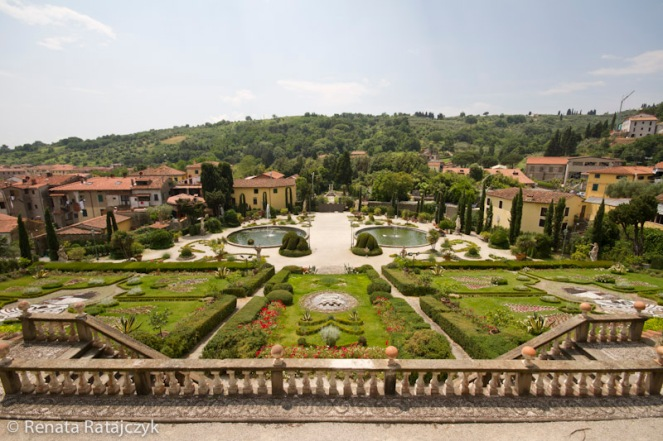 A beautiful view on the lower part of Villa Garzoni gardens from one of the upper terraces.