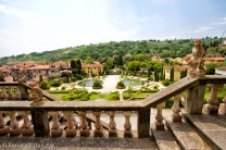 A view from one of the terraces in Villa Garzoni gardens, Italy.